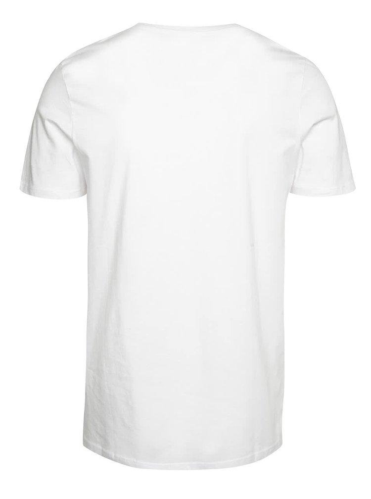 Bílé triko s potiskem Jack & Jones Frank