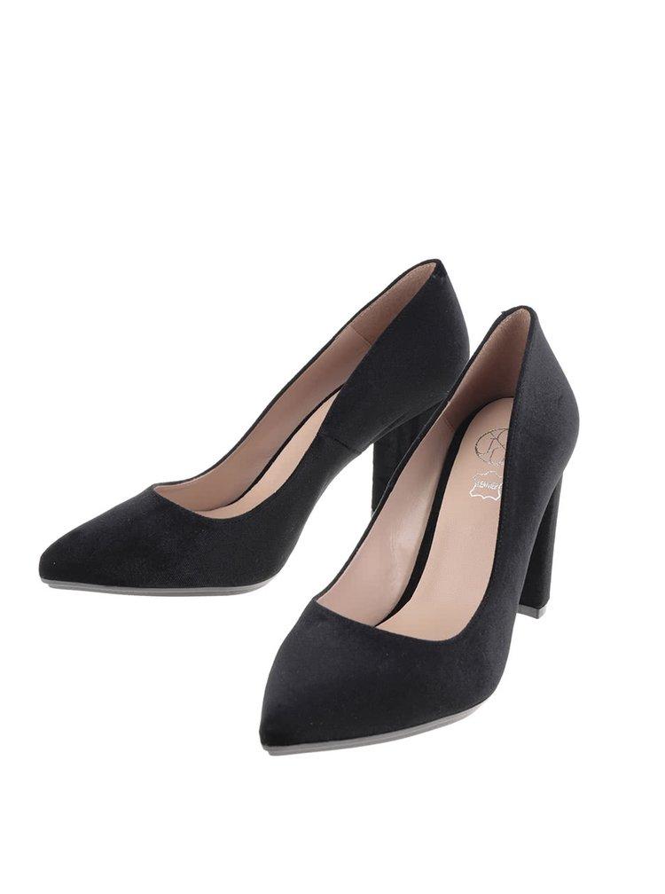 Pantofi negri OJJU cu toc gros