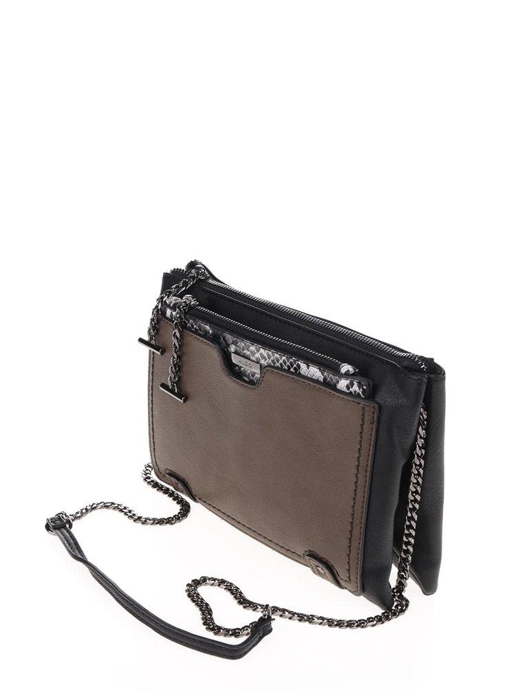Čierna crossbody kabelka so strakatou listovou kabelkou ALDO Giren