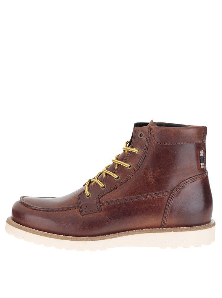 Hnědé kožené kotníkové boty Jack & Jones Logger