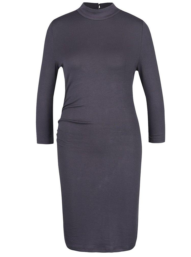 Tmavě šedé šaty s průstřihem na zádech VILA Obbos