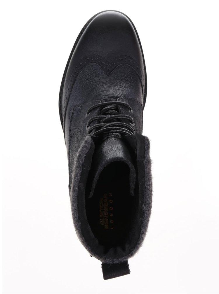 Ghete Brogue negre Burton Menswear London din piele