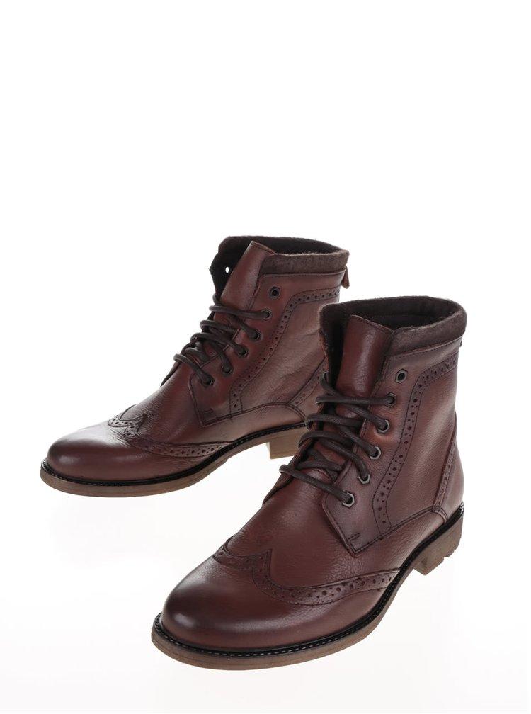 Hnědé kožené kotníkové brogue boty Burton Menswear London Penley
