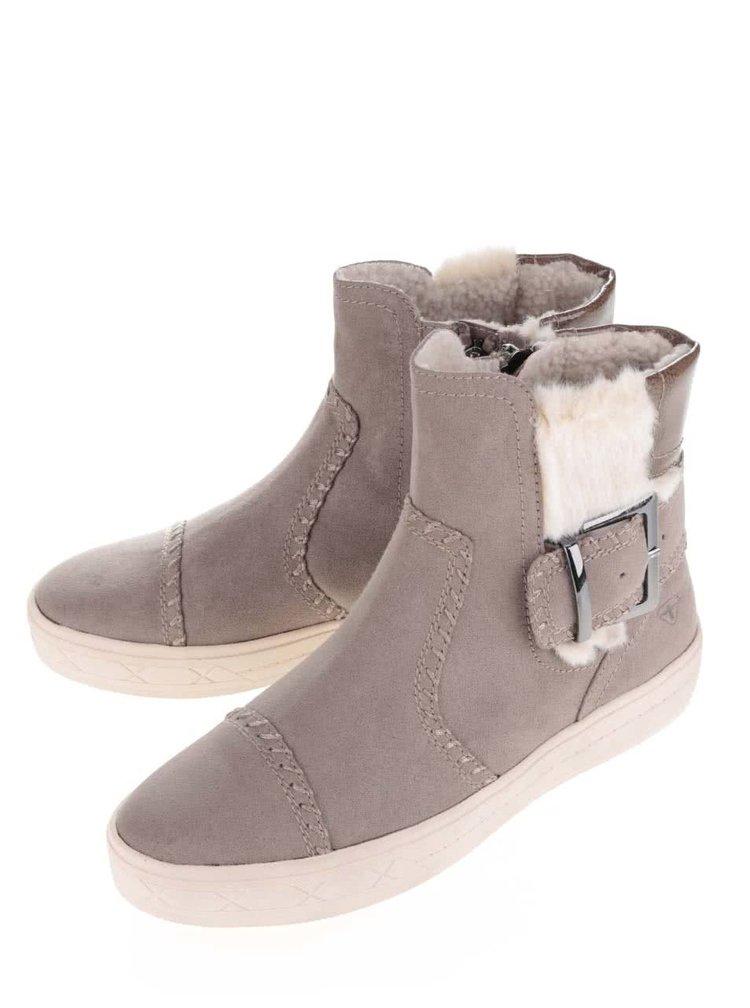Šedé kotníkové boty v semišové úpravě s umělým kožíškem Tamaris
