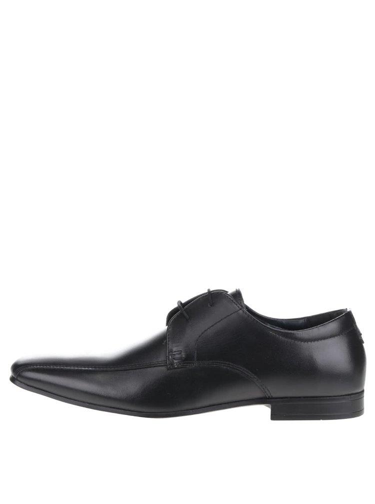 Čierne kožené poltopánky Burton Menswear London Kenward