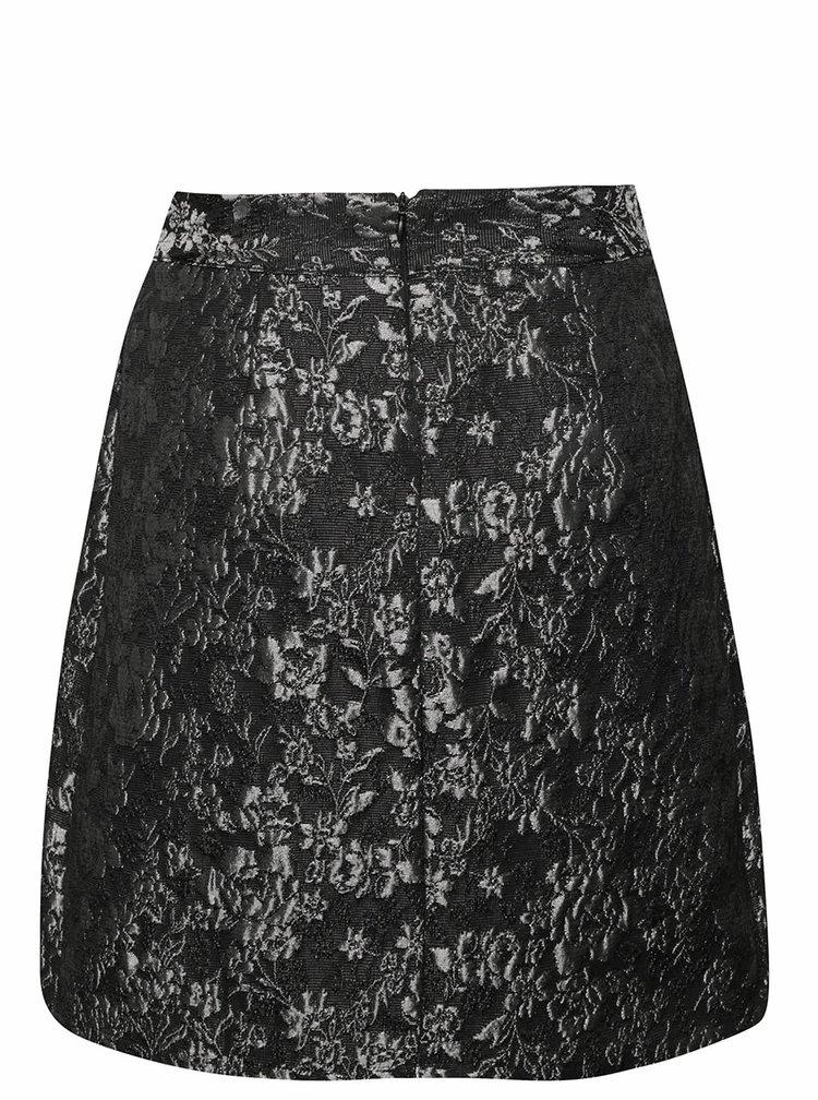 Šedo-černá sukně s lesklou výšivkou květin Alchymi Inna