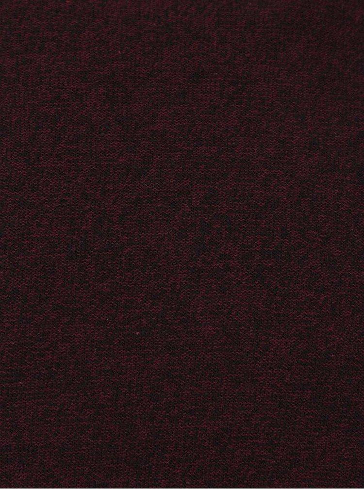 Vínový žíhaný svetr Jack & Jones Bjorn