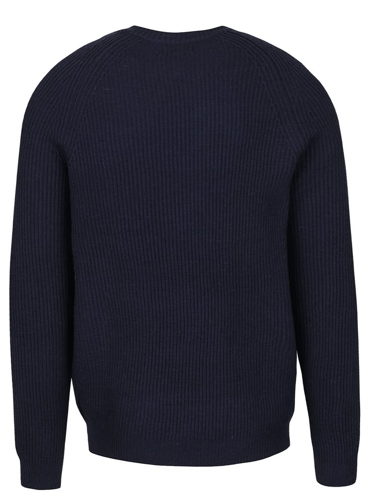 Tmavě modrý žebrovaný svetr Jack & Jones Ranvarton