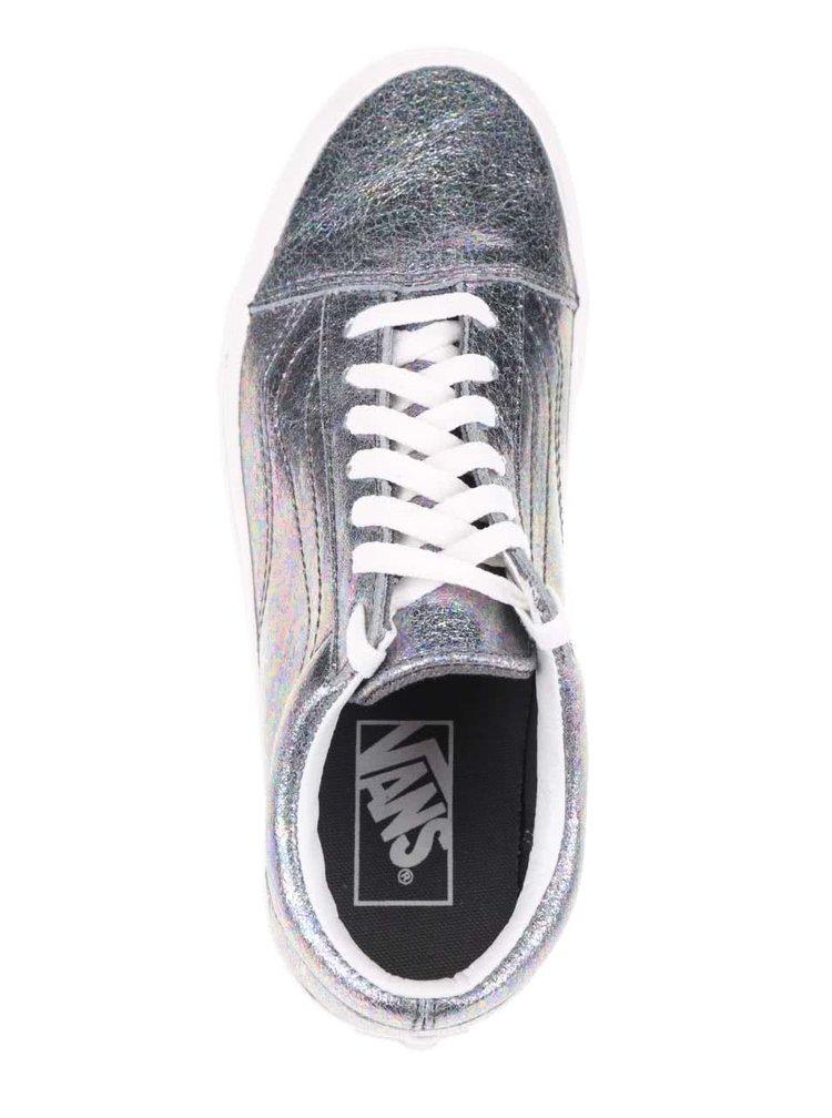 Dámské kožené tenisky ve stříbrné barvě VANS Old skool