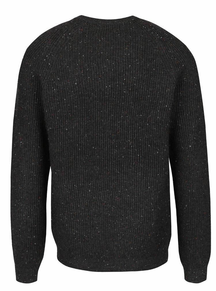 Tmavě šedý žíhaný žebrovaný svetr Jack & Jones Ranvarton