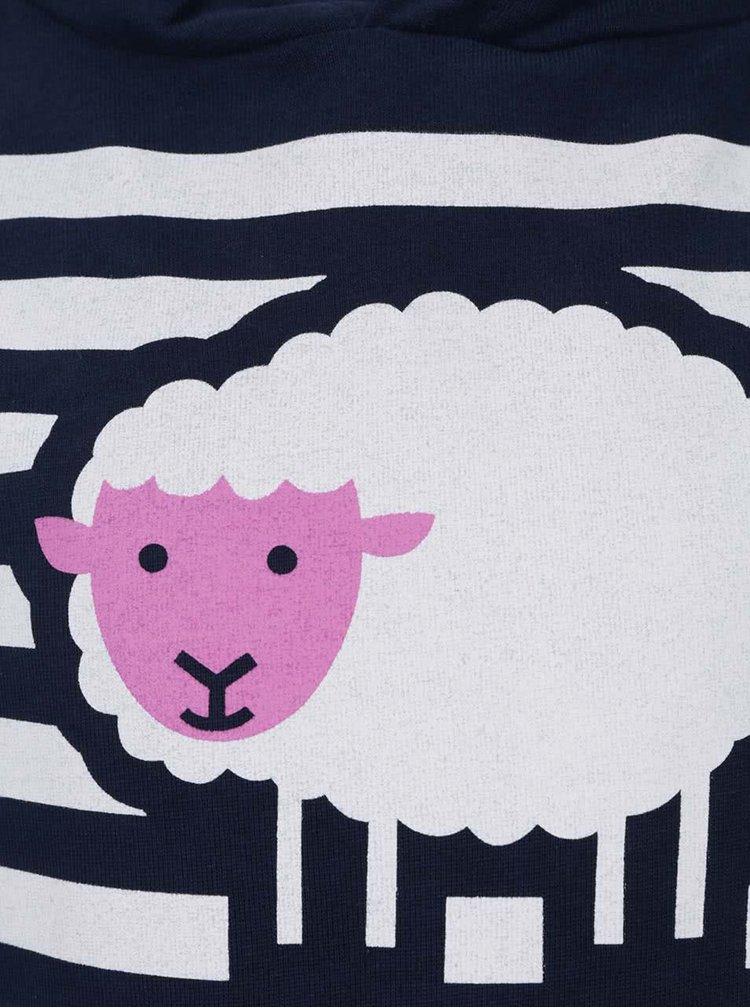 """""""Dobrá"""" tmavě modrá dětská mikina s potiskem ovce a kapucí pro EDU"""
