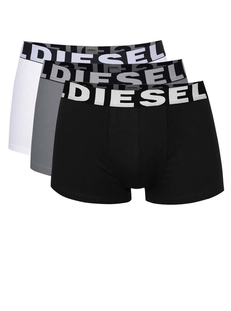 Sada tří boxerek v šedé, bílé a černé barvě Diesel