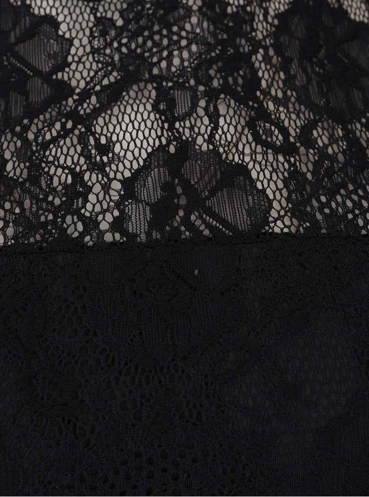 Černé krajkové body s průsvitnými detaily Pieces Delta