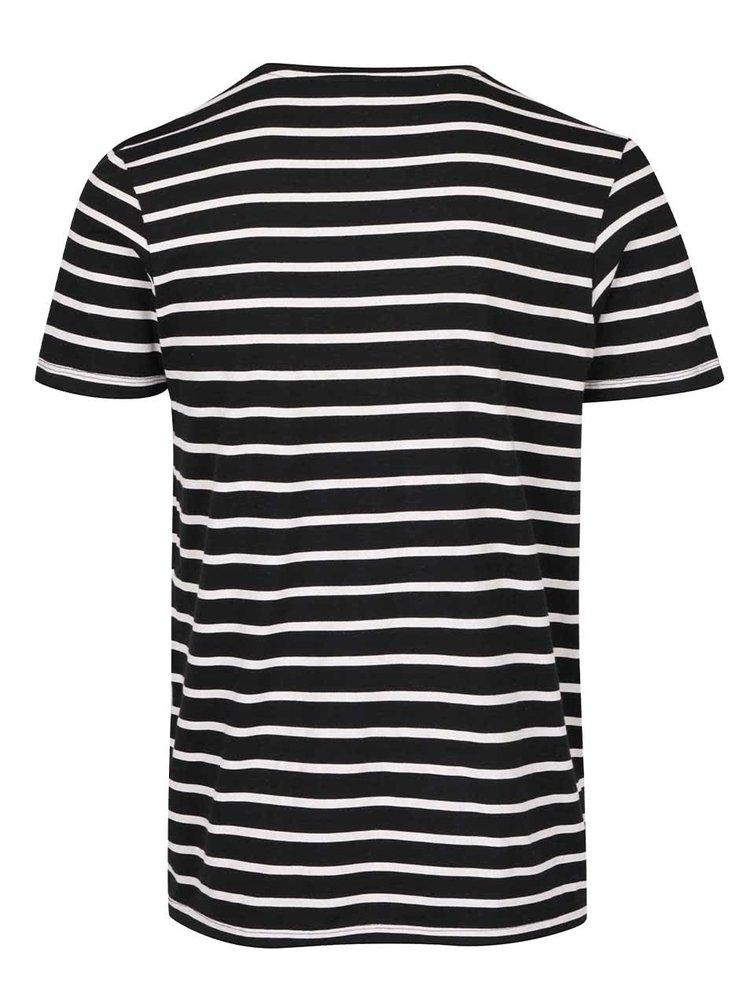 Bílo-černé pruhované triko Jack & Jones States