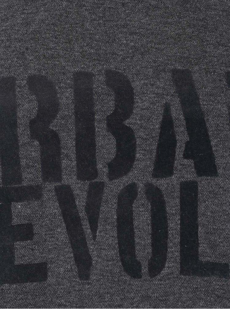 Bluză gri melanj cu imprimeu text Blend