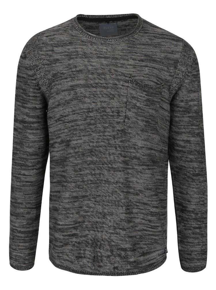 Černo-šedý žíhaný svetr s kapsou Blend
