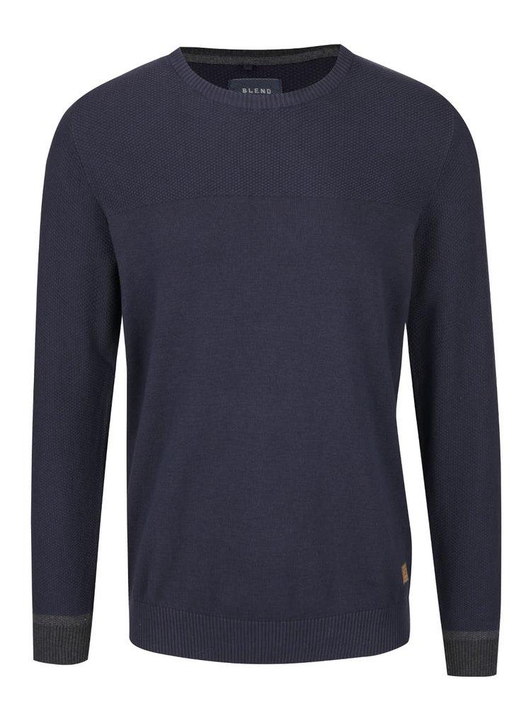 Tmavě modrý lehký svetr s jemným vzorem Blend