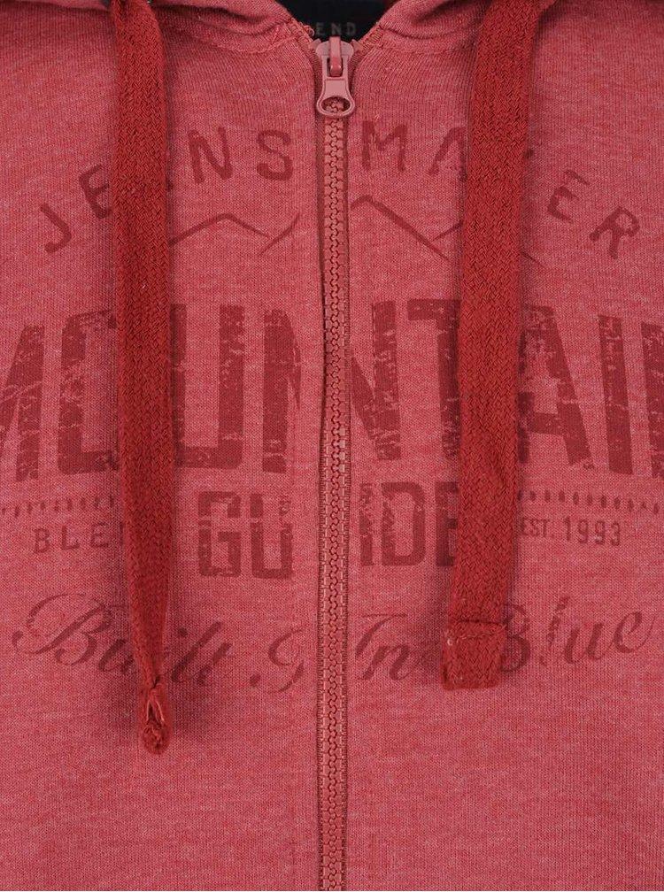 Červená mikina na zip s potiskem a kapucí Blend