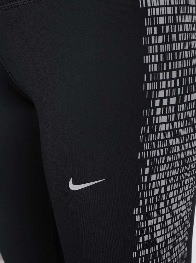 Černé dámské legíny s šedým vzorem Nike Power Flash Epic