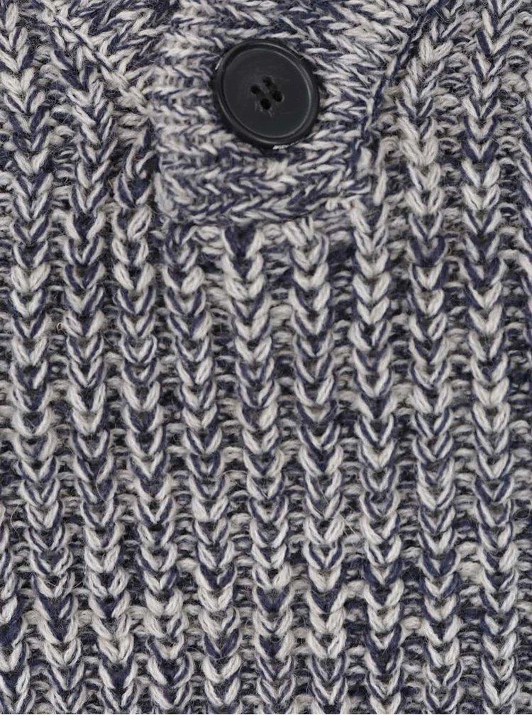 Krémovo-modrý žíhaný svetr s knoflíky Blend