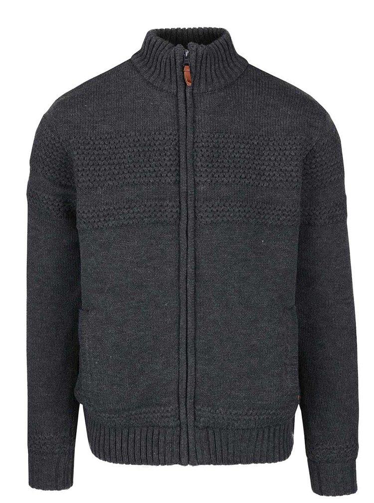 Jacheta gri inchis cu model discret si fermoar Blend