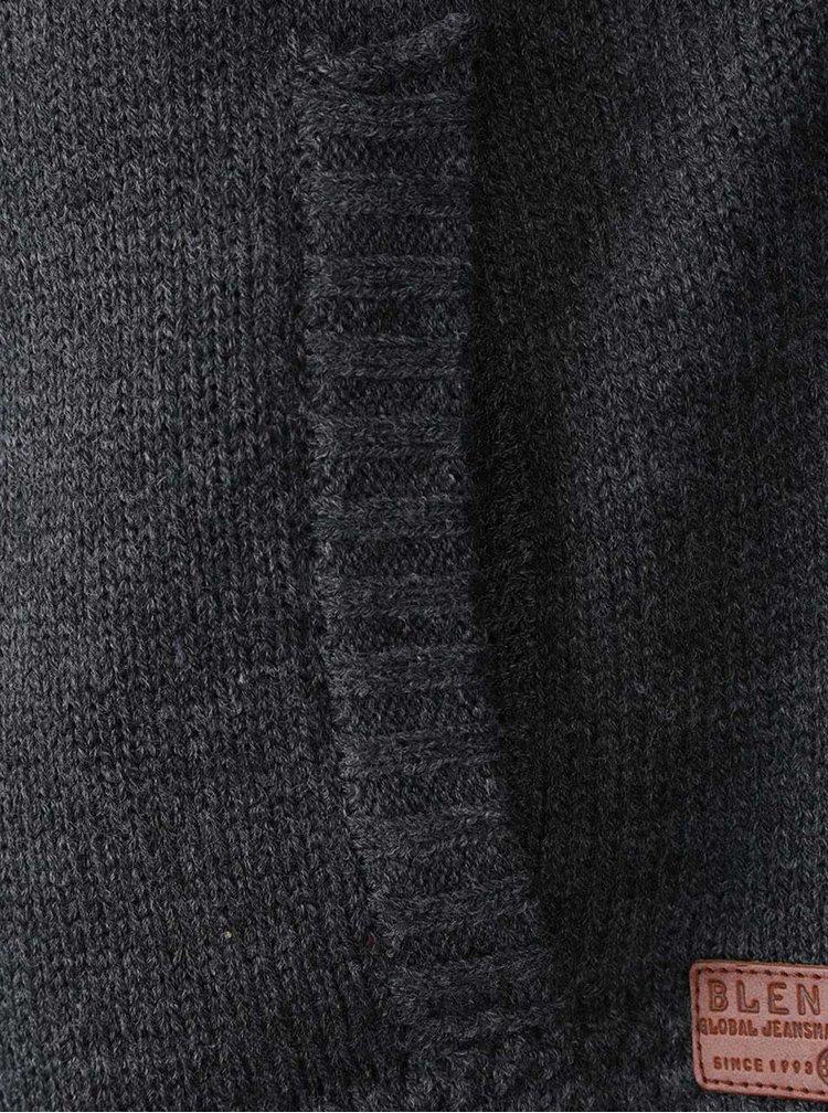 Tmavě šedý svetr na zip s podšívkou z umělého kožíšku Blend