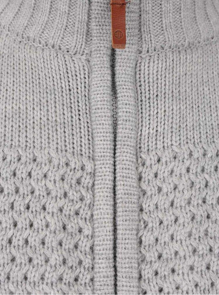 Šedý svetr na zip s podšívkou z umělého kožíšku Blend