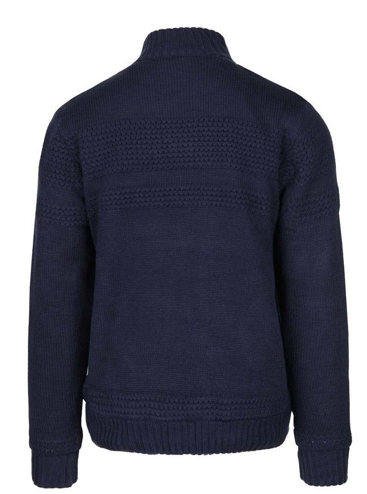 Jachetă albastru închis cu model discret și fermoar Blend