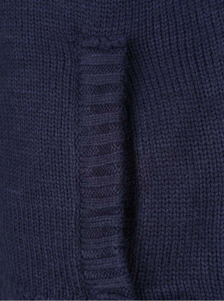 Jacheta albastru inchis cu model discret si fermoar Blend