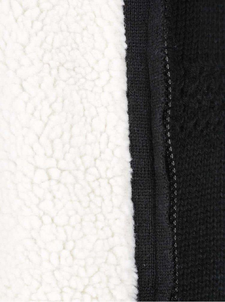Černý svetr na zip s podšívkou z umělé kožešiny Blend