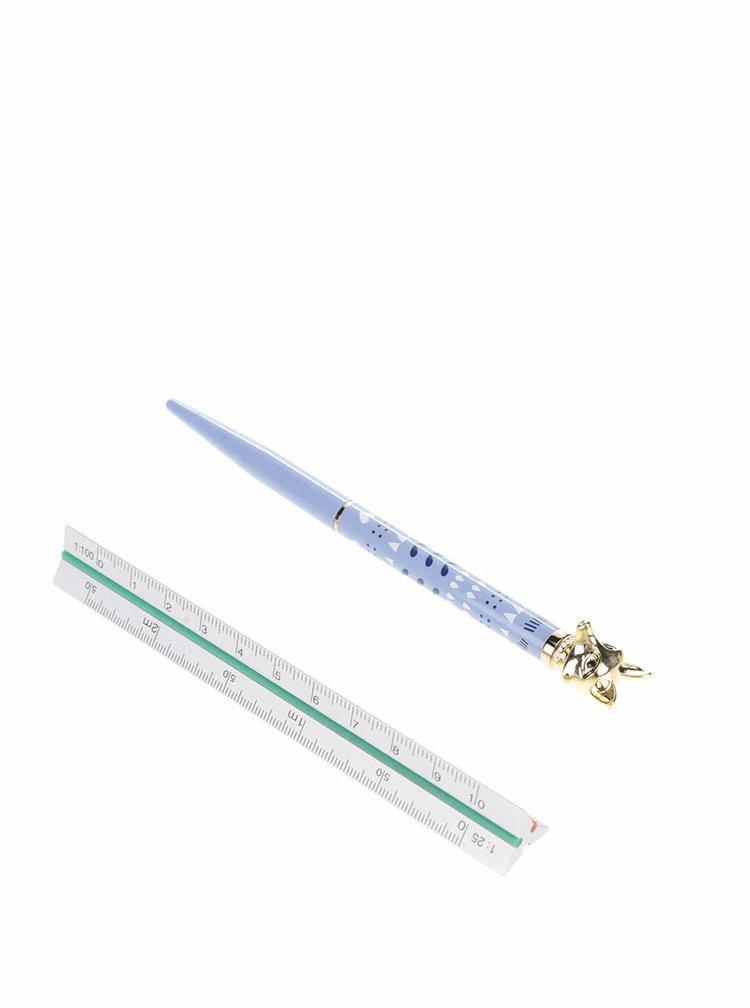 Světle modré kuličkové pero s motivem lišky Folklore