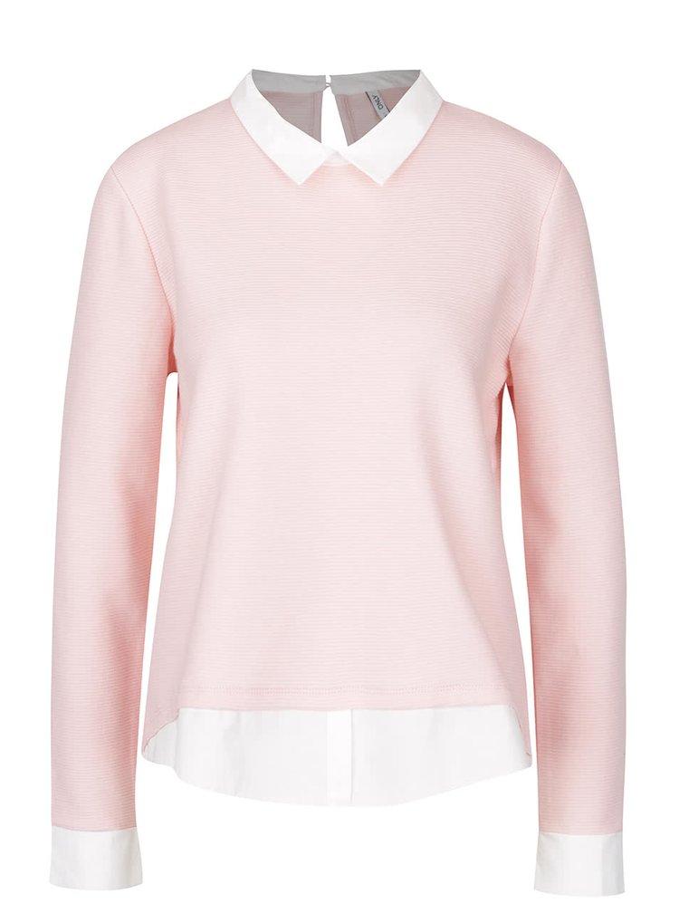 Růžový top s všitým košilovým lemem ONLY Carmen