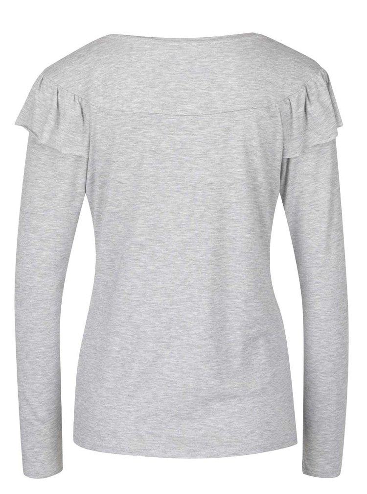 Světle šedé tričko s volánkem ONLY Flounces