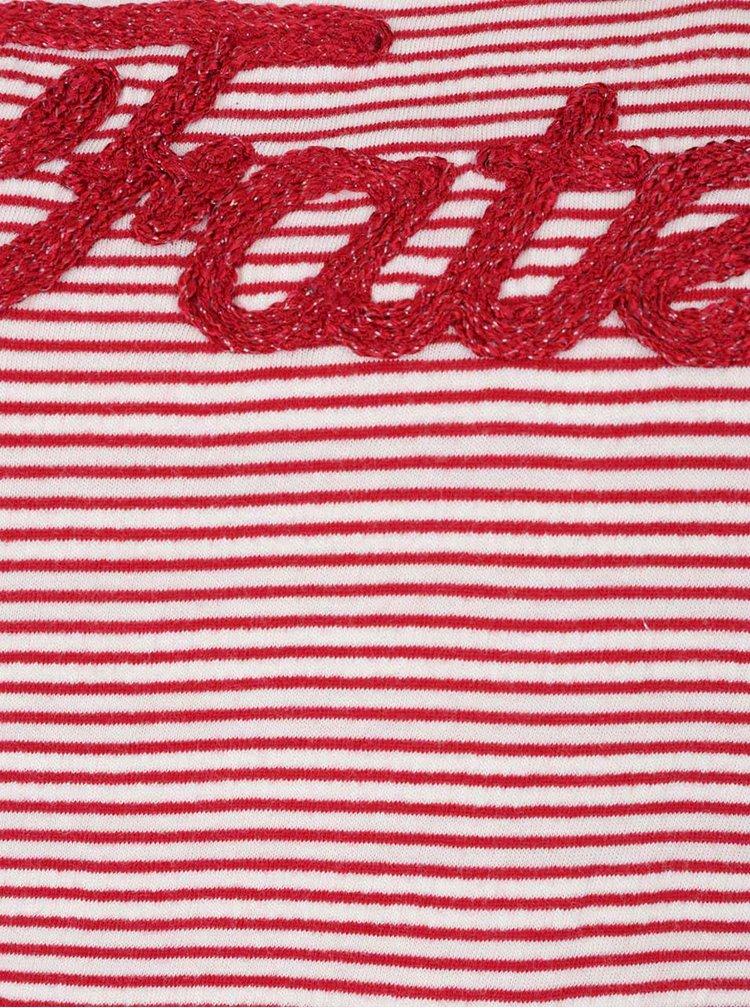 Tricou crem cu roșu în dungi ONLY Fate