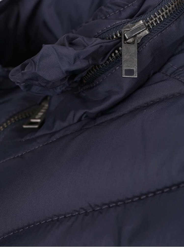 Tmavě modrá prošívaná vesta s asymetrickým prošíváním Blend