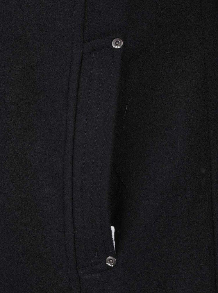 Černý kabát s příměsí vlny s vysokým límcem Blend