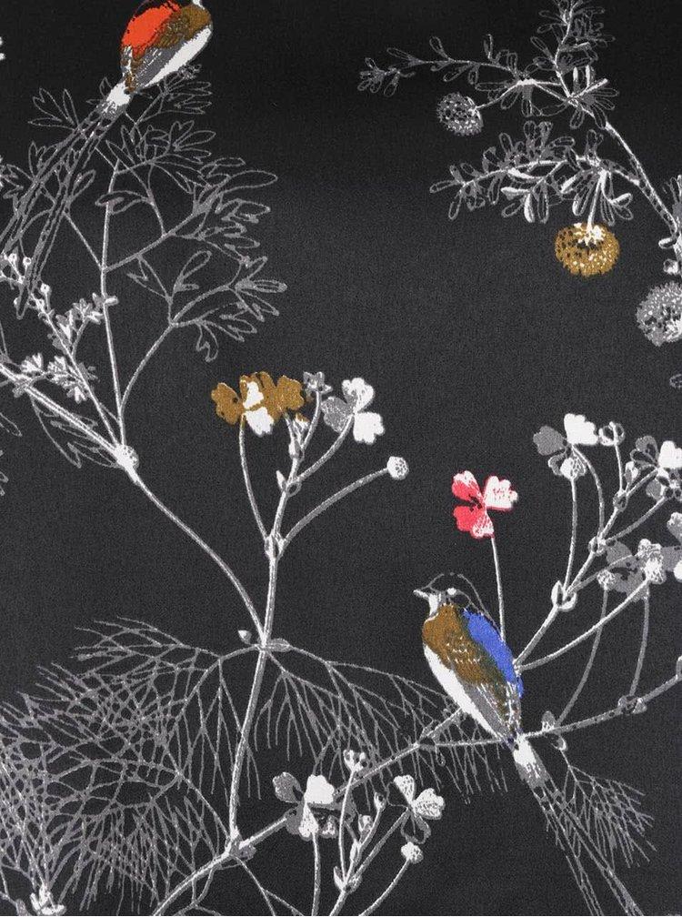 Černý lesklý top s motivem ptáčků VERO MODA Ivalu