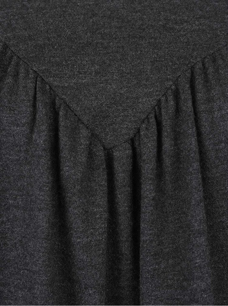 Tmavě šedé volnější tričko s dlouhým rukávem VERO MODA Penny