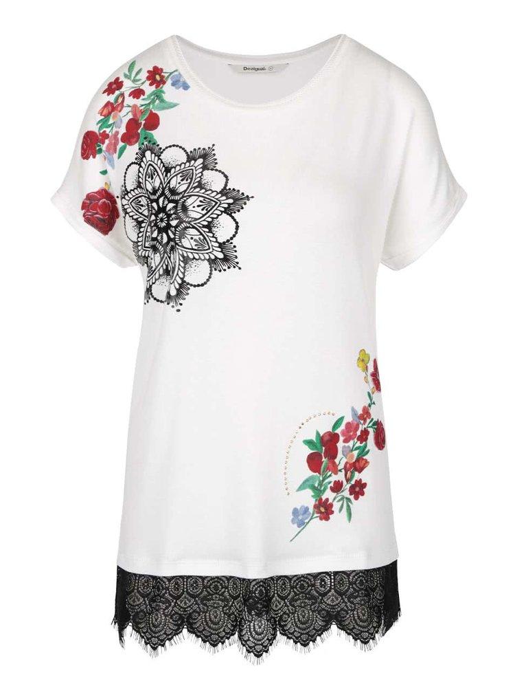 Tricou crem cu imprimeu floral și detalii metalice Desigual Oporto