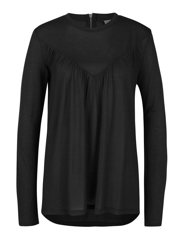 Černé volnější tričko s dlouhým rukávem VERO MODA Penny
