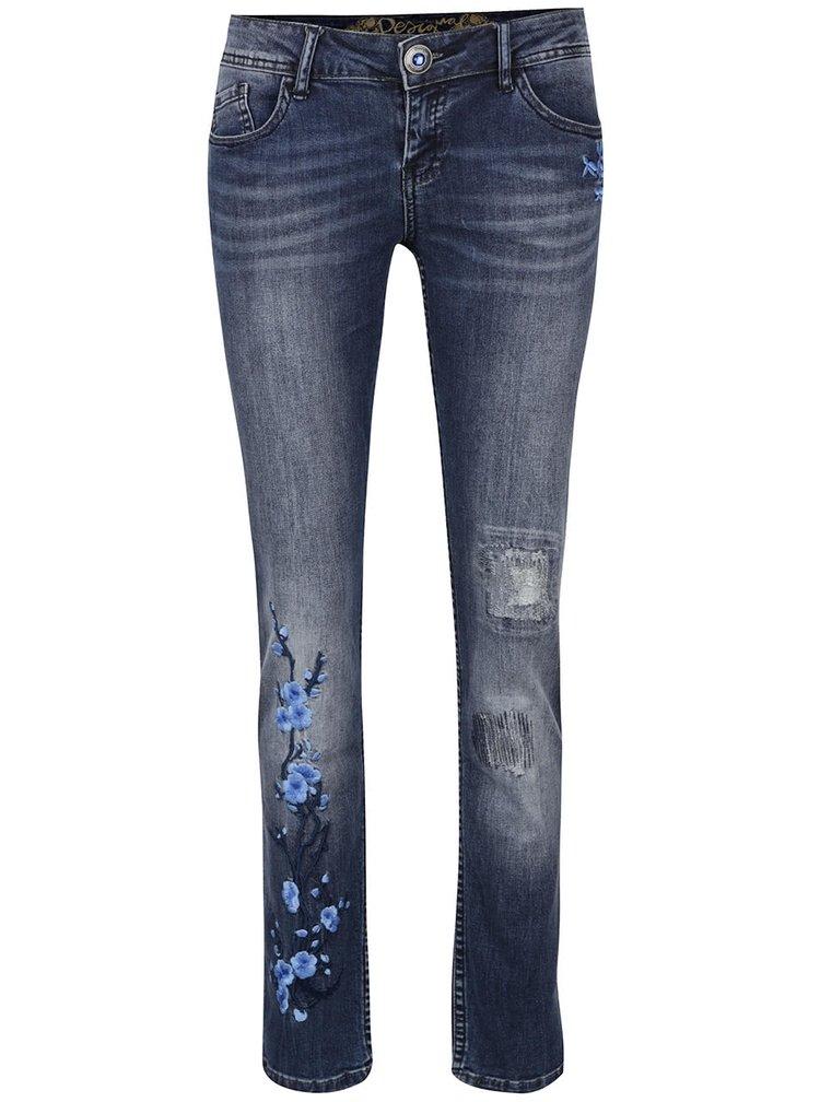 Jeansi albastri cu broderie florala Desigual Irene