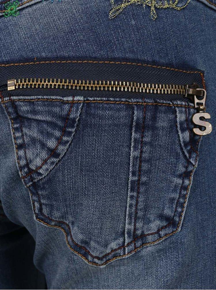 Jeanși albastru deschis cu broderie Desigual Refriposas
