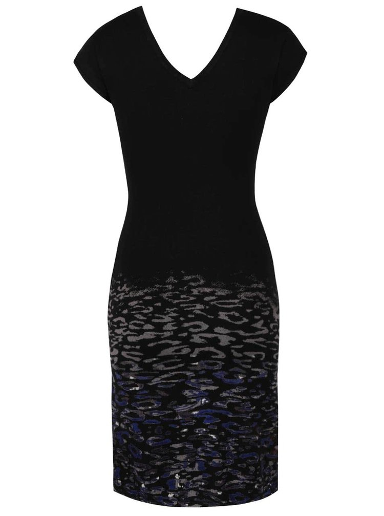 Rochie neagra cu animal print si detalii metalice Desigual Elqui