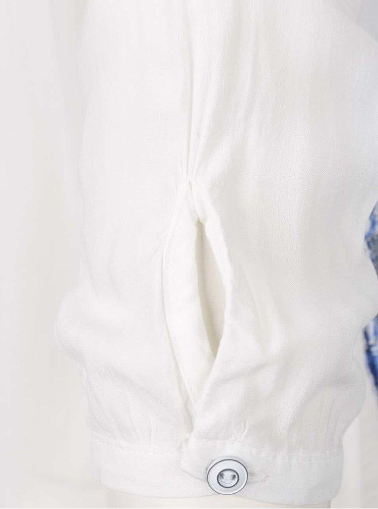 Modro-bílá halenka s krajkou na ramenou Desigual Gemma