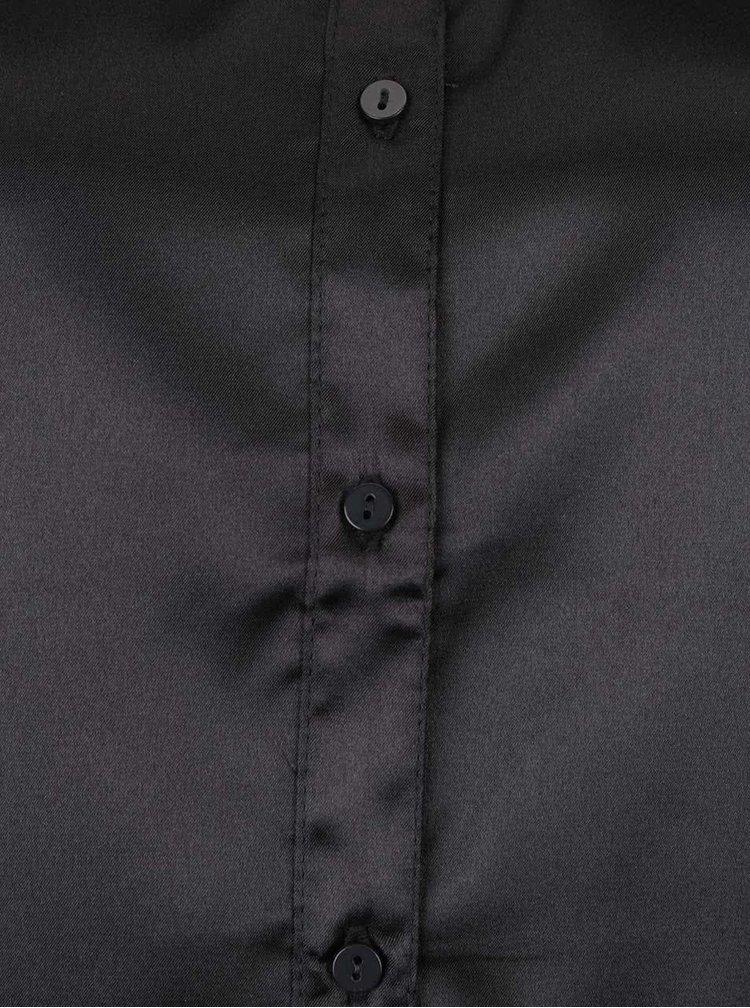 Černý top s límečkem a průhledným sedlem TALLY WEiJL