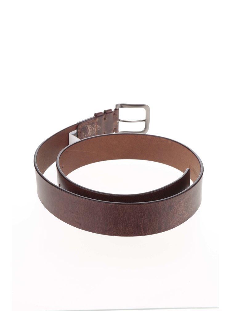 Tmavě hnědý kožený pásek Dice Salem
