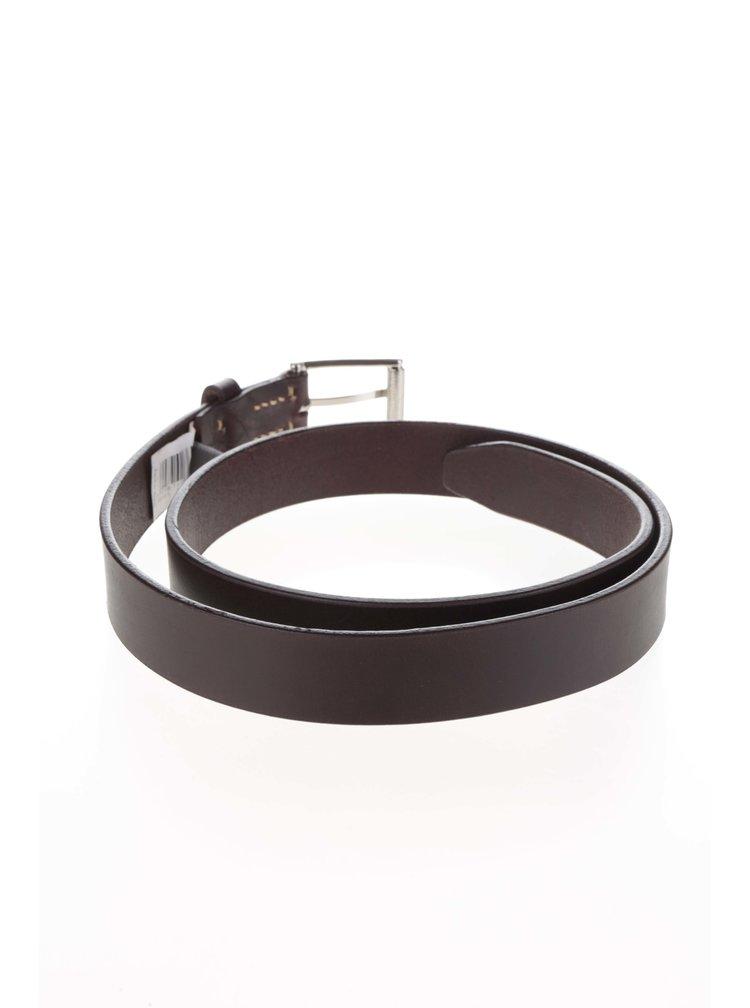 Tmavě hnědý kožený pásek Dice Albany