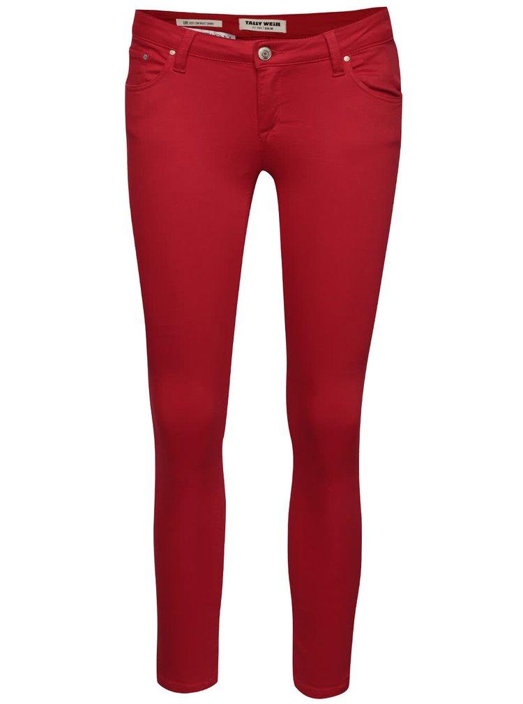 Červené skinny džíny s nízkým pasem TALLY WEiJL