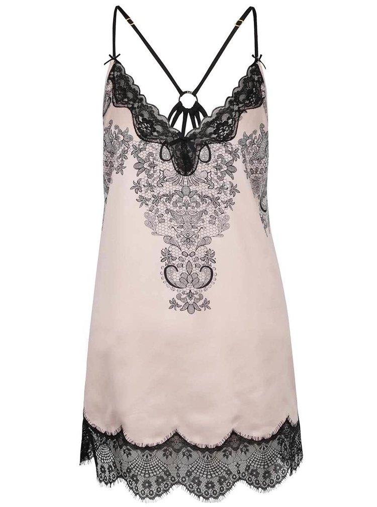Černo-růžová košilka s krajkou Lipsy