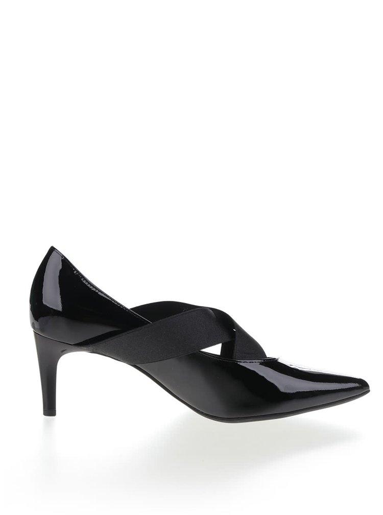 Pantofi negri Högl din piele cu barete elastice si aspect lucios